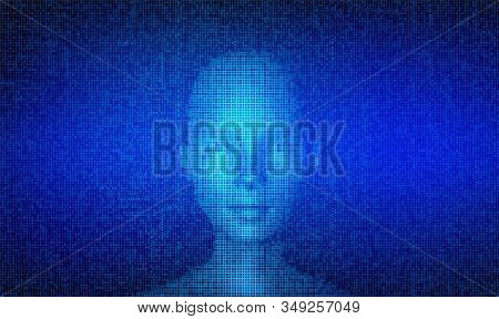 Ai. Artificial Intelligence Concept. Abstract Digital Human Face Made With Streaming Matrix Digital