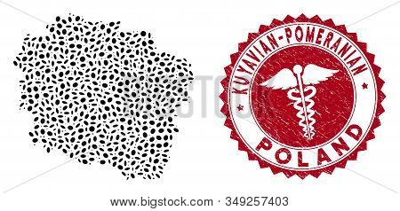 Vector Mosaic Kuyavian-pomeranian Voivodeship Map And Red Rounded Grunge Stamp Watermark With Medica
