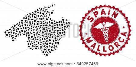 Vector Collage Mallorca Map And Red Rounded Grunge Stamp Watermark With Medic Icon. Mallorca Map Col