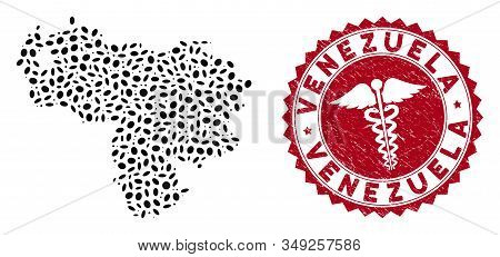 Vector Collage Venezuela Map And Red Rounded Corroded Stamp Seal With Healthcare Icon. Venezuela Map