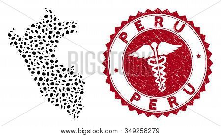 Vector Mosaic Peru Map And Red Rounded Rubber Stamp Seal With Doctor Icon. Peru Map Collage Formed W