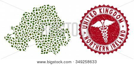 Vector Collage Northern Ireland Map And Red Round Grunge Stamp Seal With Medicine Sign. Northern Ire