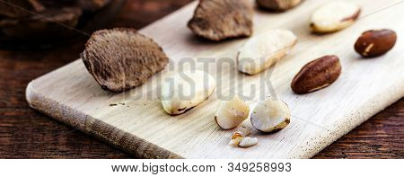 Foods With Healthy Unsaturated Fat. Brazil Nut Seeds. Brazilian Nuts Grown In Brazil And Bolivia For