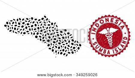 Vector Mosaic Sumba Island Map And Red Rounded Corroded Stamp Watermark With Medic Symbol. Sumba Isl