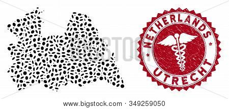 Vector Collage Utrecht Province Map And Red Round Grunge Stamp Seal With Caduceus Sign. Utrecht Prov