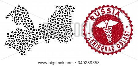 Vector Collage Leningrad Oblast Map And Red Round Rubber Stamp Seal With Medic Symbol. Leningrad Obl