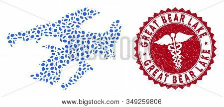 Vector Mosaic Great Bear Lake Map And Red Rounded Grunge Stamp Watermark With Caduceus Symbol. Great