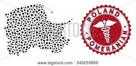 Vector Collage Pomeranian Voivodeship Map And Red Rounded Grunge Stamp Watermark With Healthcare Sig