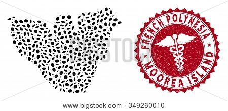 Vector Collage Moorea Island Map And Red Rounded Corroded Stamp Seal With Healthcare Icon. Moorea Is
