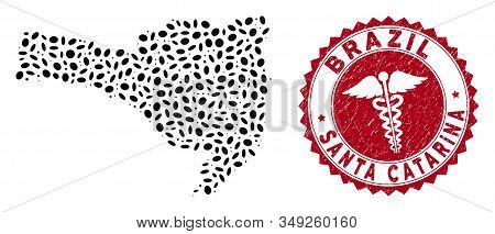 Vector Collage Santa Catarina State Map And Red Round Rubber Stamp Watermark With Doctor Sign. Santa