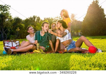 Picnic Party Of Young Friends In The Park.