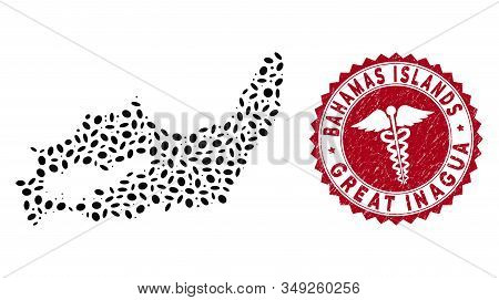 Vector Collage Great Inagua Island Map And Red Rounded Rubber Stamp Seal With Doctor Icon. Great Ina