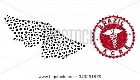 Vector Collage Acre State Map And Red Rounded Rubber Stamp Seal With Health Care Sign. Acre State Ma