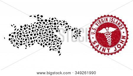 Vector Mosaic Saint John Island Map And Red Round Rubber Stamp Seal With Serpents Icon. Saint John I