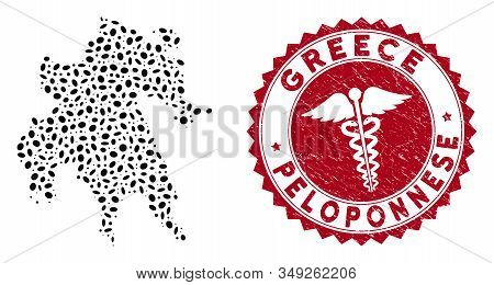Vector Collage Peloponnese Peninsula Map And Red Rounded Grunge Stamp Seal With Caduceus Icon. Pelop