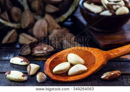Photo Of Brazil Nuts, Known As Castanha-da-amazônia Or Chestnut-do-acre. Also Grown In Bolivia. Wood
