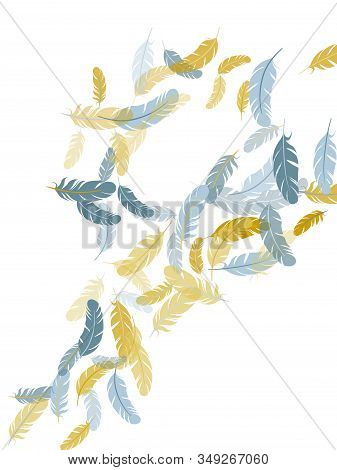 Decorative Silver Gold Feathers Vector Background. Plumage Bohemian Fashion Shower Decor. Easy Plume
