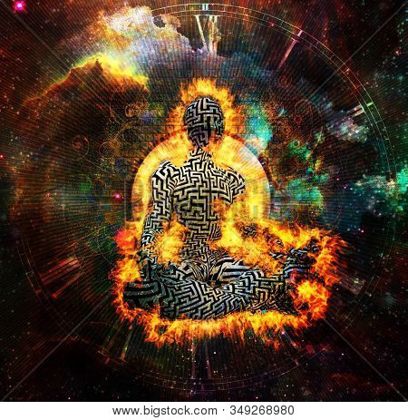 Burning man with maze pattern meditate in lotus pose. Clock face and vivid universe background. 3D rendering