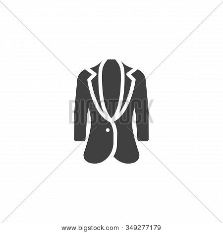 Womens Business Jacket Vector Icon. Filled Flat Sign For Mobile Concept And Web Design. Women Jacket