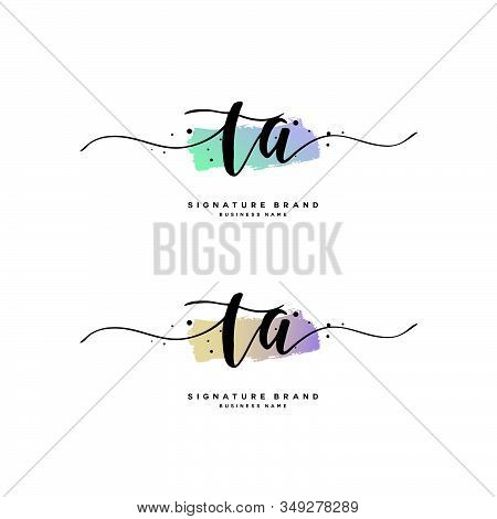 T A Ta Initial Letter Handwriting And  Signature Logo. A Concept Handwriting Initial Logo With Templ