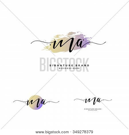 M A Ma Initial Letter Handwriting And  Signature Logo. A Concept Handwriting Initial Logo With Templ