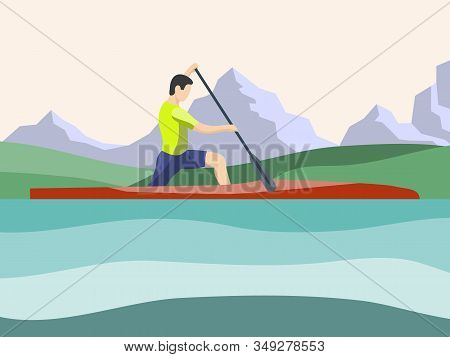 Athlete Of Rowing In Sports Canoe With Paddle On The Mountains Background. Male Cartoon Character Co