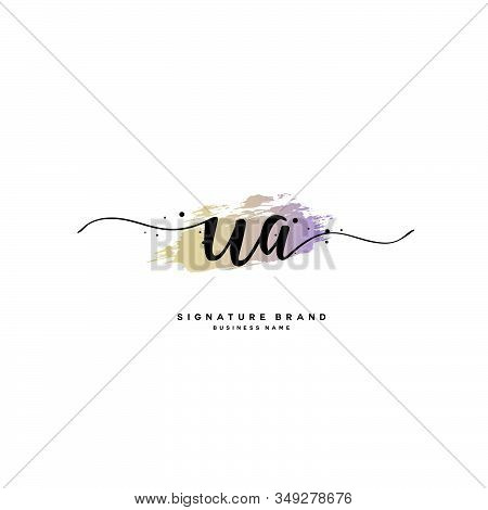 U A Ua Initial Letter Handwriting And  Signature Logo. A Concept Handwriting Initial Logo With Templ