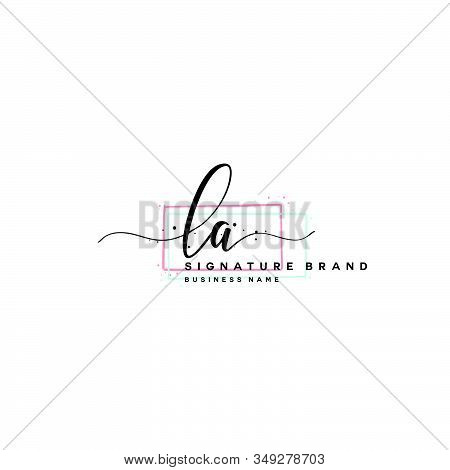 L A La Initial Letter Handwriting And  Signature Logo. A Concept Handwriting Initial Logo With Templ