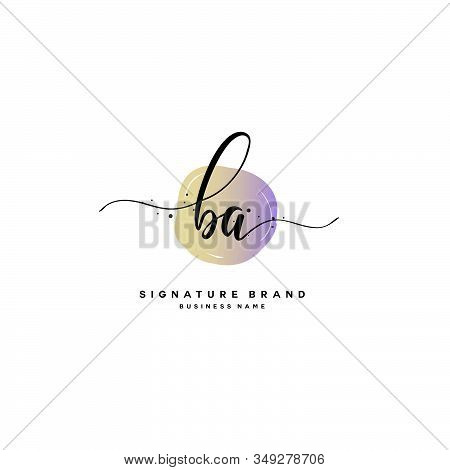 B A Ba Initial Letter Handwriting And  Signature Logo. A Concept Handwriting Initial Logo With Templ