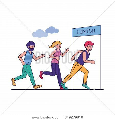 Group Of Sportsmen Running Marathon Vector Illustration. Sprinters Crossing Finish Line, Sport-joggi