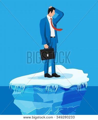 Desperate Businessman Floats On Iceberg. Obstacle On Work, Financial Crisis. Risk Management, Busine