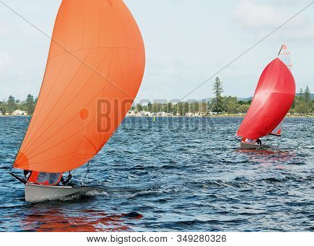 Children Sailing In Small Colourful Boats And Dinghies For Fun And In Competition. Teamwork By Junio