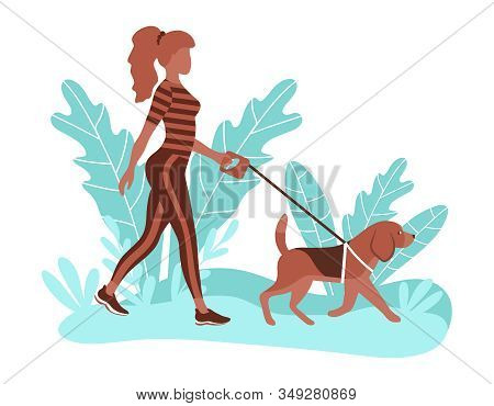 Young Sporty Woman Walking With Her Dog. Outdoor Activity In The Park. Vector Illustration In Flat S