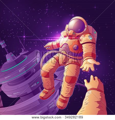 Future Space Tourists Couple On Orbit Cartoon Concept With Astronaut In Futuristic Spacesuit Flying