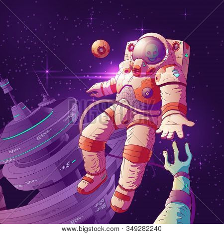Alien First Contact Cartoon Concept With Astronaut In Futuristic Spacesuit Reaching Hand To Extrater