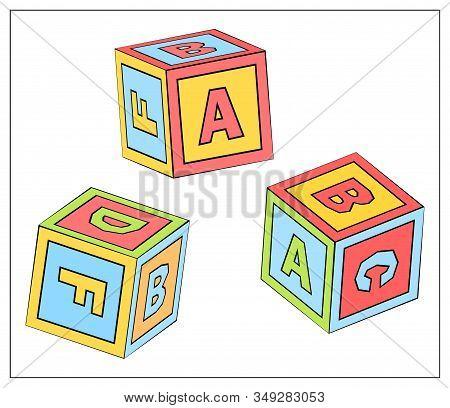 Abc Cube Education Game Blocks Toys Vector