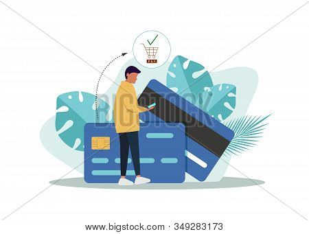 Business concept. Business people. Business background. Flat design concept payment. hand click mobile device and payment icon.Business background, business concept. business banner.Credit card. Payment online. Vector Illustration.