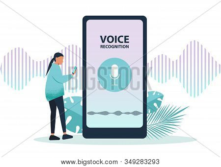 Male  ai character using voice control for his phone. Isolated vector ai illustration of voice remote with character and phone. Voice ai recognition. Voice ai assistent.