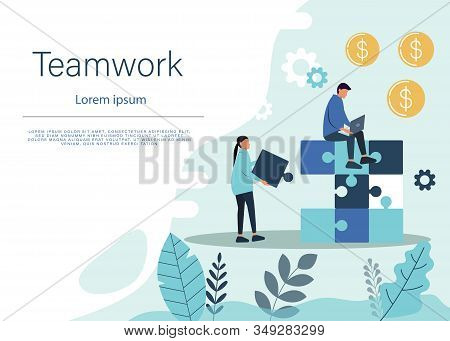 Business teamwork concept. Team business metaphor. Teamwork business. Bussiness teamwork background. Business People connecting puzzle elements. Vector teamwork illustration flat design style. Symbol of teamwork, business, cooperation, partnership. Busine