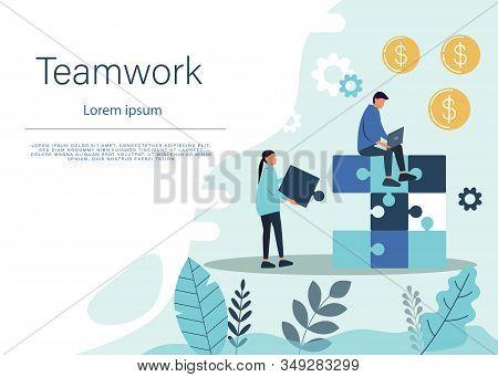 Business teamwork concept. Team business metaphor. Teamwork business. Bussiness teamwork background. Business People connecting puzzle elements. Vector teamwork illustration flat design style. Symbol of teamwork, business, cooperation, partnership. Busine