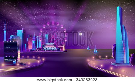 Modern Metropolis Seafront Neon Colors Cartoon With Yachts Sailing In Bay, Futuristic Skyscrapers, I