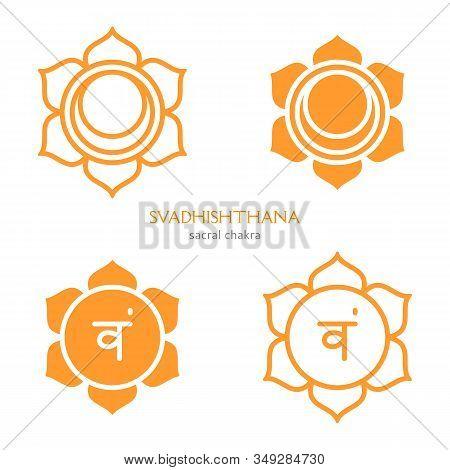 Svadhishthana, Sacral Chakra Symbol. Colorful Mandala. Vector Illustration