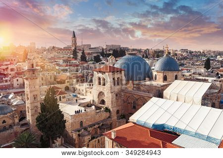 Panoramic Aerial View Of The Temple Of The Holy Sepulcher At Sunset In The Old City Of Jerusalem, Ch