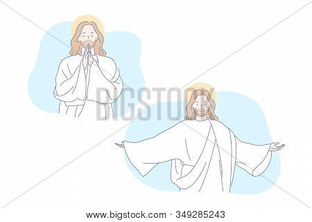 Jesus, Bible, Christianity, Pray Set Concept. Jesus Christ Prays For All People. Symbols Of Christia