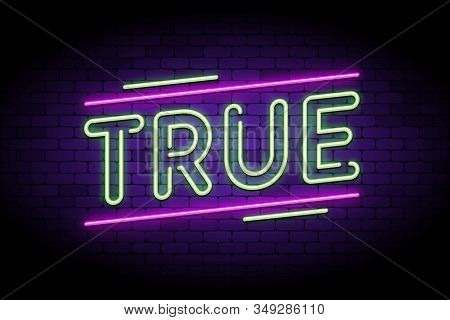 True News And Real, Honest Facts. Neon And Glowing Letters On A Brick Wall. Vector Illustration To I
