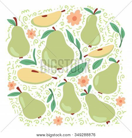 Set Of Green Pear And Sliced Half Pear With Leaf And Flowers. Cartoon Hand Drawn Style. Isolated Pea