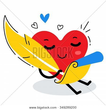 Vector Illustration Of Happy Red Heart Character Writing A Love Poem By Feather On White Background.