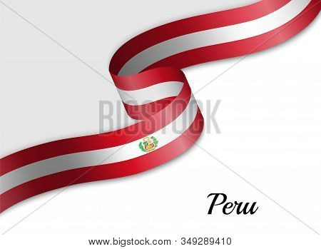 Waving Ribbon Flag Of Peru. Template For Independence Day Banner