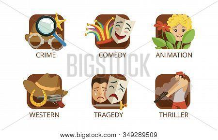Cinema Genres Set, Crime, Comedy, Animation, Western, Tragedy, Thriller, Cinematography, Movie Produ