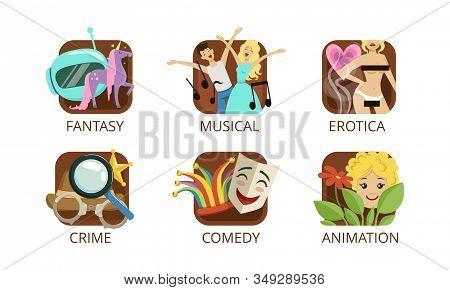 Cinema Genres Set, Crime, Fantasy, Musical, Erotica, Crime, Comedy, Animation, Cinematography, Movie